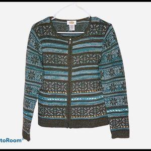 Talbots Lambs Wool Zipper Sweater Blue/Grn Size S